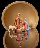 Christmas Nativity and Golden Halo. Christmas Nativity Scene with Joseph Holding Lantern Stock Image