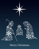 Christmas Nativity Greeting Card. A Christmas nativity scene made up of different snowflakes on blue background. Useful also as greeting card. Eps file available Royalty Free Stock Photo