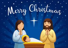 Christmas nativity greeting card, Holy family scene Stock Image