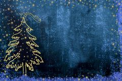 Christmas Nativity fir tree greetings cards. Christmas Nativity greetings cards, fir tree and Star of Bethlehem gold texture on dark blue background with copy stock images
