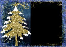 Christmas Nativity greetings cards. Gold Christmas tree and empty blackboard  on blue backgroound Stock Image