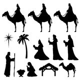 Christmas Nativity Icons-Wise Men. Nativity and Wise Men icons. Very easy to change colour Royalty Free Stock Photography