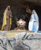 Christmas Nativity Jesus Birth. A Christmas nativity scene in a stable with baby Jesus in a manger, Mary and Joseph with copy space royalty free stock photos