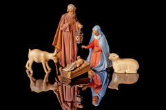 Christmas Nativity with Mary, Jesus, Joseph Royalty Free Stock Photo