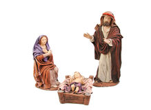 Christmas nativity. Mary, Joseph and baby Jesus. Isolated on white background Stock Images