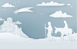 Christmas Nativity Mary Joseph and Bethlehem. A Christmas Nativity illustration of Mary and Joseph on their journey with shooting star and city of Bethlehem in Stock Photo