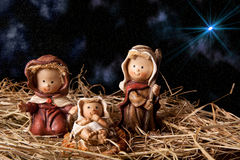 Christmas nativity scene. On a layer of hay stock photo