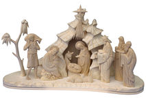 Christmas nativity scene. With figures made out of wood stock photo