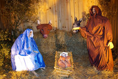 Christmas nativity scene. With model figures in Portugal Royalty Free Stock Photography