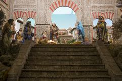 Christmas Nativity scene with Al-Andalus architecture style. Cordoba, Spain - December 2018: Christmas Nativity scene with Al-Andalus architecture style. Cordoba royalty free stock photo