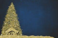 Free Christmas Nativity Scene And Tree, Religious Greetings Cards Stock Image - 194564081
