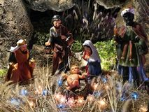 Christmas nativity scene with baby Jesus. Christmas nativity scene with baby Jesus in the manger Royalty Free Stock Image