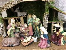 Christmas Nativity Scene. A Christmas nativity scene with baby Jesus in a manger. Christmas Decoration Royalty Free Stock Photo
