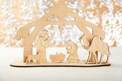 Christmas Nativity Scene of baby Jesus in the manger with Mary and Joseph royalty free stock image