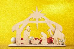 Christmas Nativity Scene of baby Jesus in the manger with Mary and Joseph royalty free stock images