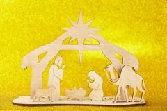 Christmas Nativity Scene of baby Jesus in the manger with Mary and Joseph stock photography