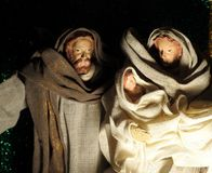 Christmas nativity scene with baby Jesus, Mary & Josep. Christmas nativity scene Holy family Mary Joseph and child Jesus in a stary night Stock Photos
