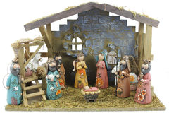 Christmas nativity scene. Of the birth of Jesus depicted with figurines royalty free stock photos