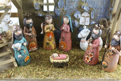 Christmas nativity scene. Of the birth of Jesus depicted with figurines Stock Photo