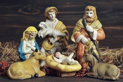 Christmas nativity scene. With holy family and shepard Royalty Free Stock Images