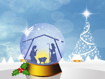 Christmas Nativity Scene in the crystal ball Royalty Free Stock Photos
