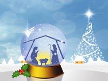 Christmas Nativity Scene in the crystal ball Royalty Free Stock Photos
