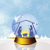 Christmas Nativity Scene in the crystal ball Stock Photography