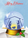 Christmas Nativity Scene in the crystal ball Stock Image
