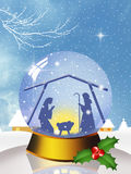 Christmas Nativity Scene in the crystal ball Royalty Free Stock Images