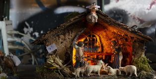Christmas nativity scene. Decorating Christmas Nativity Scene, at the souvenir shop in Naples stock photo