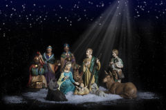 Christmas Nativity 2. Christmas nativity scene depicting the birth of the baby Jesus with Joseph, Mary, Shepard boy holding lamb, cow and donkey and three wise stock photography
