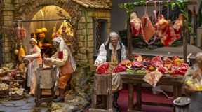 Christmas nativity scene, detail of a Neapolitan Presepe representing a butcher`s shop. Naples Italy stock images
