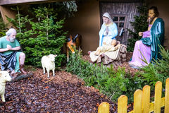 Christmas Nativity Scene in front of the Fluweelengrot in Valkenburg, Netherlands Stock Photos