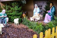 Christmas Nativity Scene in front of the Fluweelengrot in Valkenburg, Netherlands Stock Photos