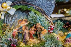 Christmas Nativity scene with hand-colored figures made out of wood.  Stock Image