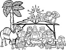 Christmas Nativity Scene. Hand drawn cartoon doodle depicting the Christmas nativity bible story in black and white for colouring projects Stock Photo