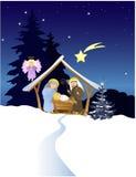 Christmas nativity scene with Holy Family. Vector illustration Royalty Free Stock Photo