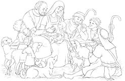 Adoration of the Shepherds coloring page | Free Printable Coloring ... | 160x247