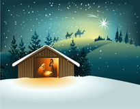 Christmas nativity scene with holy family Stock Photos