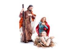 Christmas nativity scene with Holy Family, isolated on white background royalty free stock photos