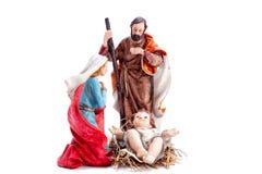 Christmas nativity scene with Holy Family, isolated on white background stock photos