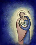 Christmas nativity scene Holy family Mary Joseph and child Jesus. In a stary night abstract desaturated illustration Royalty Free Stock Image