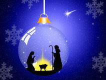 Christmas Nativity Scene. Illustration of Christmas Nativity Scene in the crystal ball Stock Image