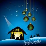 Christmas Nativity scene. Illustration of Christmas nativity scene with stable, wise men and hanging baubles; blue theme Royalty Free Stock Images