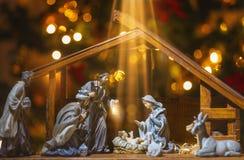 Christmas nativity scene; Jesus Christ, Mary and Joseph stock image