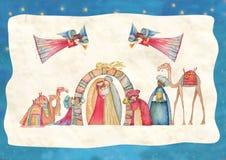 Christmas Nativity scene. Jesus, Mary, Joseph Royalty Free Stock Photography