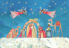 Christmas Nativity scene. Jesus, Mary, Joseph. And the Three Wise Men and Angels with trumpet Royalty Free Stock Photo