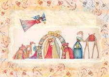 Christmas Nativity scene. Jesus, Mary, Joseph Stock Images
