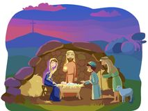 Christmas nativity scene. Josef, Mary and the Baby in the manger.Shepherds came to worship the King. Signs od Christ mission on Earth: opened cave and the cross Stock Photos