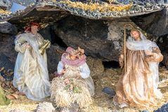 Christmas Nativity scene in Lanzarote. Christmas Nativity scene showing the cave with the baby Jesus, Mary and Joseph in Lanzarote royalty free stock images